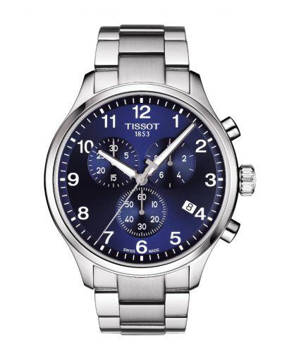 Tissot Chrono XL Classic Quartz Blue Dial with Grey Stainless Steel Bracelet Men's Watch