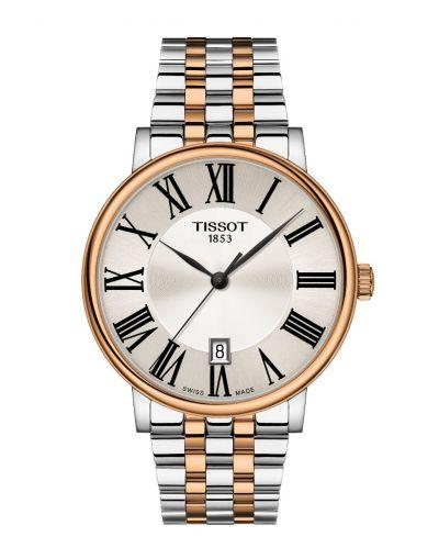 Tissot Carson Premium Silver Dial - Grey & Rose Gold Bracelet Men's Watch