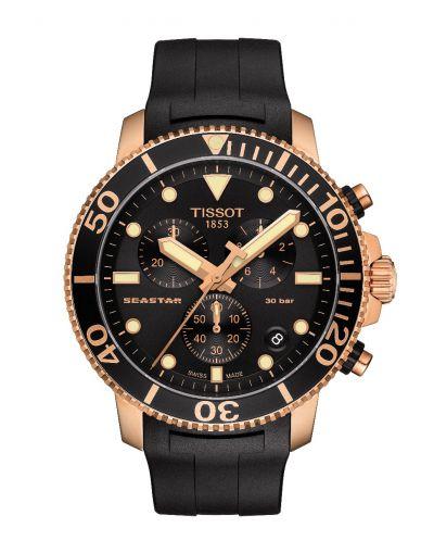 Seastar 1000 Chronograph Quartz Black Dial - Black Rubber Strap Men's Watch