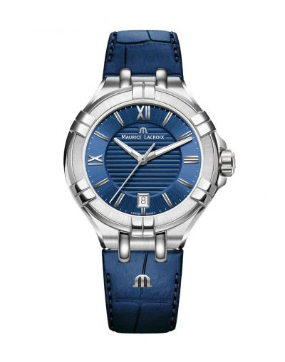 AIKON DATE 35 mm Blue Dial-Blue Leather Strap Ladies Watch