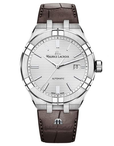 AIKON Automatic 42mm Silver Dial with Brown Leather Strap
