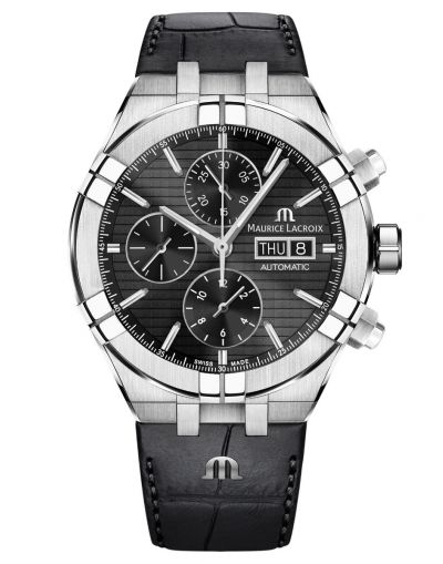 AIKON Automatic Chronograph 44mm Black Dial-Black Leather Strap