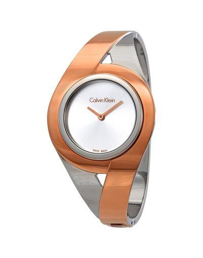 Calvin Klein Sensual Silver Dial Ladies Two Tone Medium Bracelet Watch