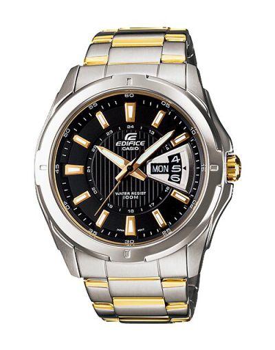 Casio Edifice EF-129SG-1AVUDF Black Dial with 2 Tone Bracelet Men's Watch