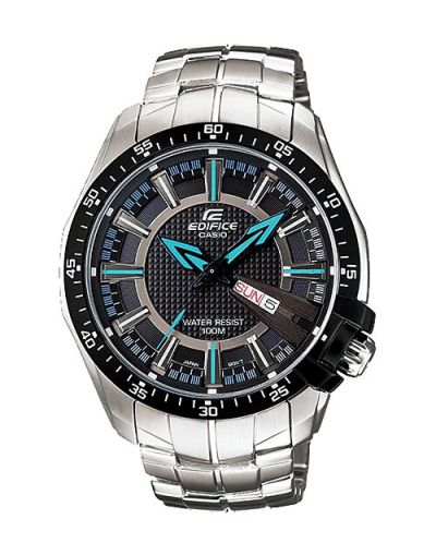 Casio Edifice EF-130D-1A2VUDF Black Dial Day & Day with Bracelet Men's Watch