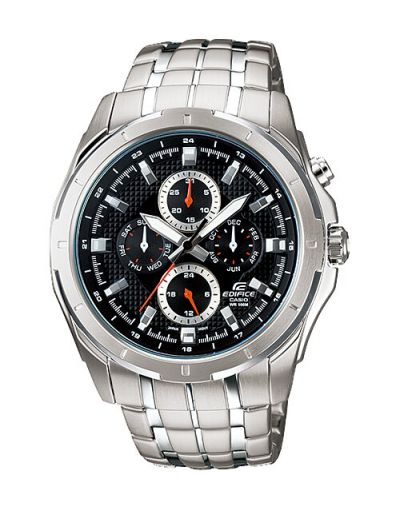 Casio Edifice EF-328D-1AVUDF Black Dial with Grey Bracelet Men's Watch