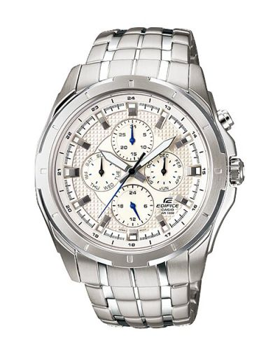 Casio Edifice EF-328D-7AVUDF White Dial with Silver Stainless Steel Bracelet Men's Watch