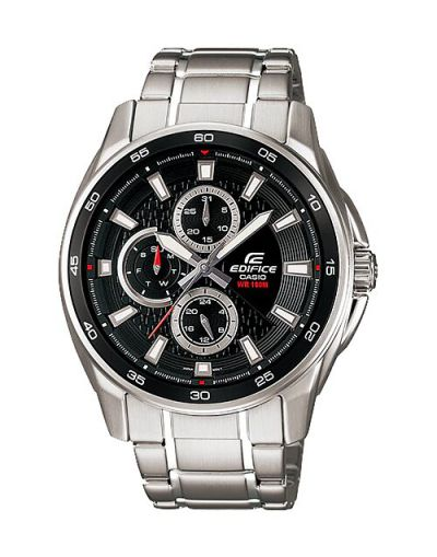 Casio Edifice EF-334D-1AVUDF Black Dial with Grey Bracelet Men's Watch