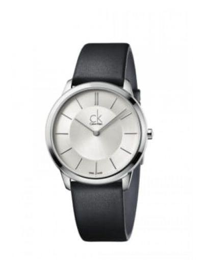 Minimal Quartz Silver Dial - Black Leather Strap Men's Watch