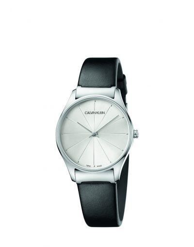 Classic Quartz Silver Dial - Black Leather Strap Men's Watch