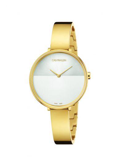 Rise Quartz Silver Dial - Gold Colour Stainless Steel Bracelet Women's Watch