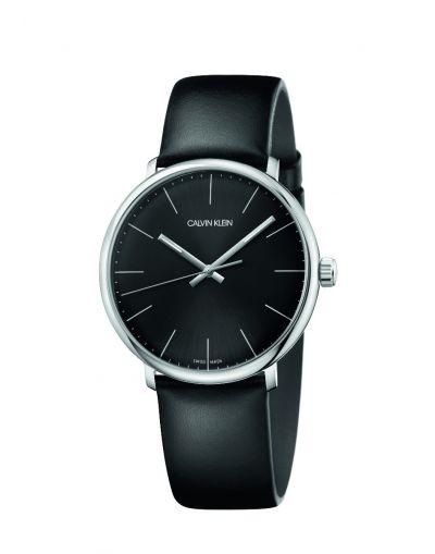 Highnoon Quartz Black Dial Black Leather Strap Men's Watch