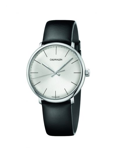 Highnoon Quartz Silver Dial Black Leather Strap Men's Watch