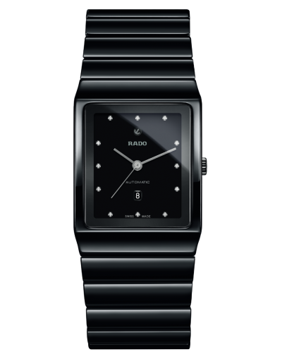 Ceramica Automatic Diamonds Black Black Dial Black Bracelet Men's Watch