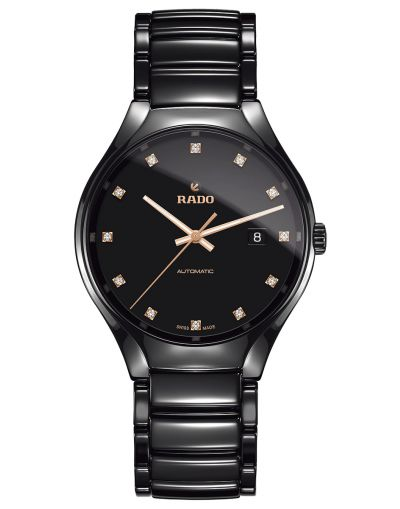 True Automatic Diamonds Black Dial Black Bracelet Men's Watch