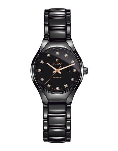 True Automatic Diamonds Black Dial Black Bracelet Women's Watch
