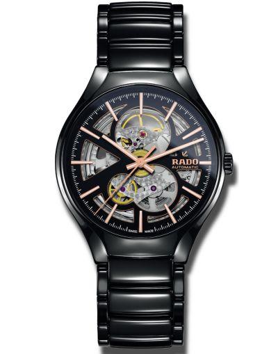 True Automatic Open Heart Black/Skeleton Dial Men's High-Tech Ceramic Watch